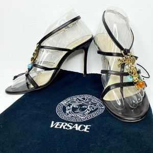 Versace Leather Strappy Cage Sandal with Charms